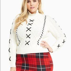 Torrid Lace Up Mock Neck Sweater 4